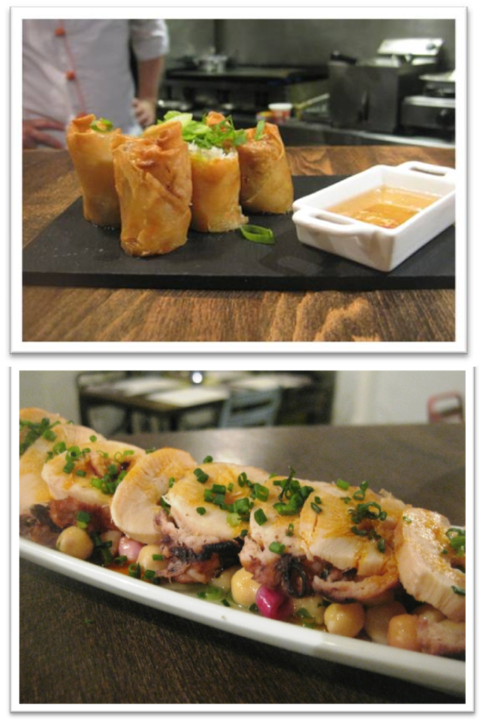 Rollitos de Langostino y Pulpo Grille/Shrimp Spring Roll and Grilled Octopus